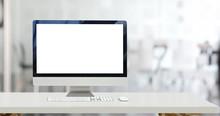 Mock Up Desktop Computer And Blank Screen Display In Office
