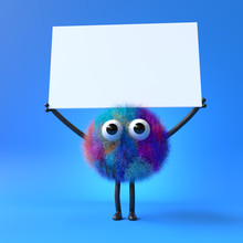3d Cute Monster Holding Up A Blank Sign,colorful Cartoon Character,empty Banner