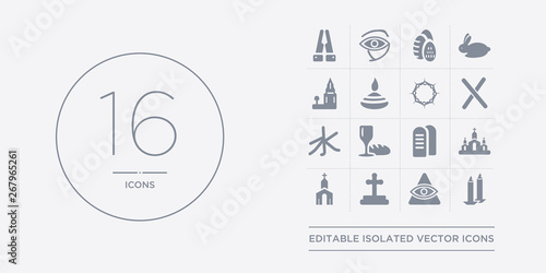 Valokuva  16 vector icons set such as candles, cao dai, christian, christianity, church contains commandments, communion, confucianism, cross