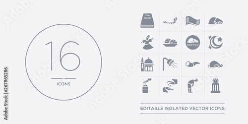 Photo  16 vector icons set such as religious salt, ruku posture, sadaqah, sadaqah charity, salah contains shofar, shower head and water, small mosque, star and crescent moon