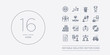 16 vector icons set such as clap, collaboration, commission, comparison, cooperation contains cup, de, entrepreneur, exchanging. clap, collaboration, commission from success outline icons