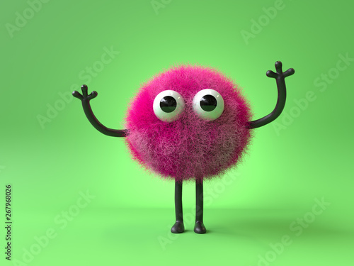 3d cute monster holding up a blank sign,colorful cartoon character,empty banner Wallpaper Mural