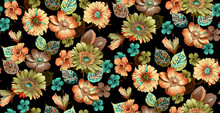 Seamless Flower Pattern With Black Background