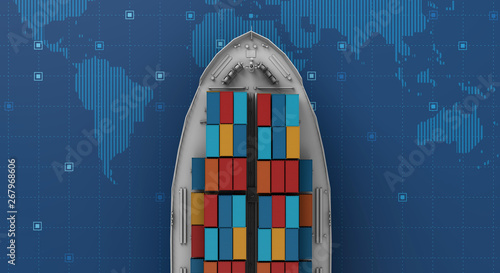 Container cargo ship in import export business logistic on digital world map Canvas Print