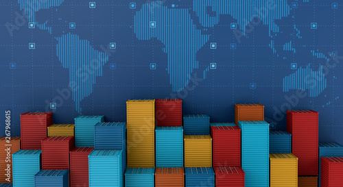 Container cargo ship in import export business logistic on digital world map Tablou Canvas