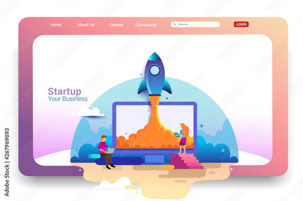 Fototapety, obrazy: Landing page design concept of Startup Business, Successful startup business concept. Vector illustration concepts for website design ui/ux and mobile website development.