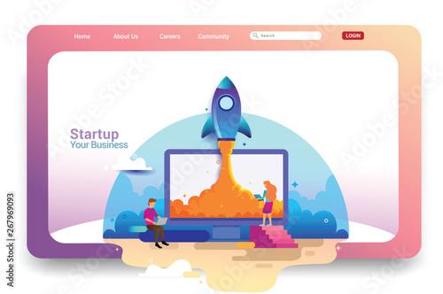 Fényképezés  Landing page design concept of Startup Business, Successful startup business concept