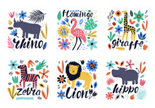 Hand Drawn Colorful Collection Of Animals With Flowers And Leaves. Hippo - Word With Cute Design. Scandinavian Style Design. Vector Illustration