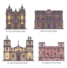 Maltese Famous Landmarks Or Malta Architecture Set