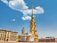 Front View Of The Peter And Paul Cathedral And Its Gorgeus Golden Tower Inside The Peter And Paul Fortress In Saint Petersburg, Russia