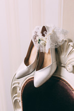 White Wedding Shoes Of The Bride.