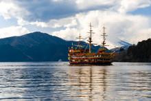 A Boat On Lake Ashinoko With Mt Fuji In The Backdrop