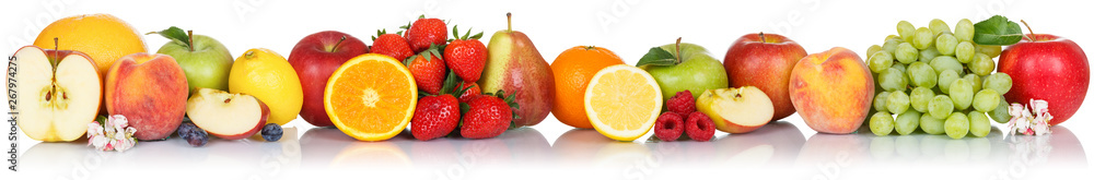 Fototapeta Fruits collection apple apples orange berries grapes banner fresh fruit isolated on white in a row