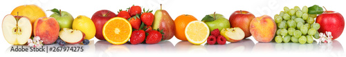 Fototapeta Fruits collection apple apples orange berries grapes banner fresh fruit isolated on white in a row obraz