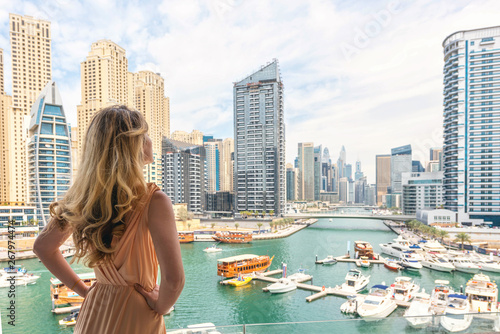 Woman in Dubai Marina, United Arab Emirates Wallpaper Mural