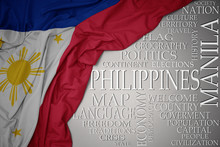 Waving Colorful National Flag Of Philippines On A Gray Background With Important Words About Country