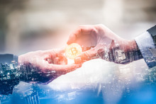 Double Exposure Of Business Give And Bitcoin The New Virtual Electronic Money With Blur City Night, Investment Concep