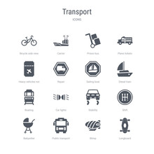 Set Of 16 Vector Icons Such As Longboard, Blimp, Public Transport, Babysitter, Shift, Stability, Car Lights, Boating From Transport Concept. Can Be Used For Web, Logo, Ui\u002fux