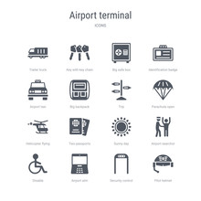 Set Of 16 Vector Icons Such As Pilot Helmet, Security Control, Airport Atm, Disable, Airport Searchor, Sunny Day, Two Passports, Helicopter Flying From Airport Terminal Concept. Can Be Used For Web,
