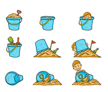 Children With Sand Bucket On White Background.Set Of Sand Bucket Vector By Hand Drawing.