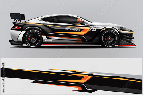 Obraz na plátně Sport Car wrap design vector, truck and cargo van decal