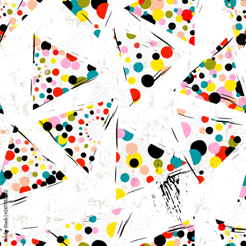 seamless background pattern, with triangles, circles/dots, strokes and splashes