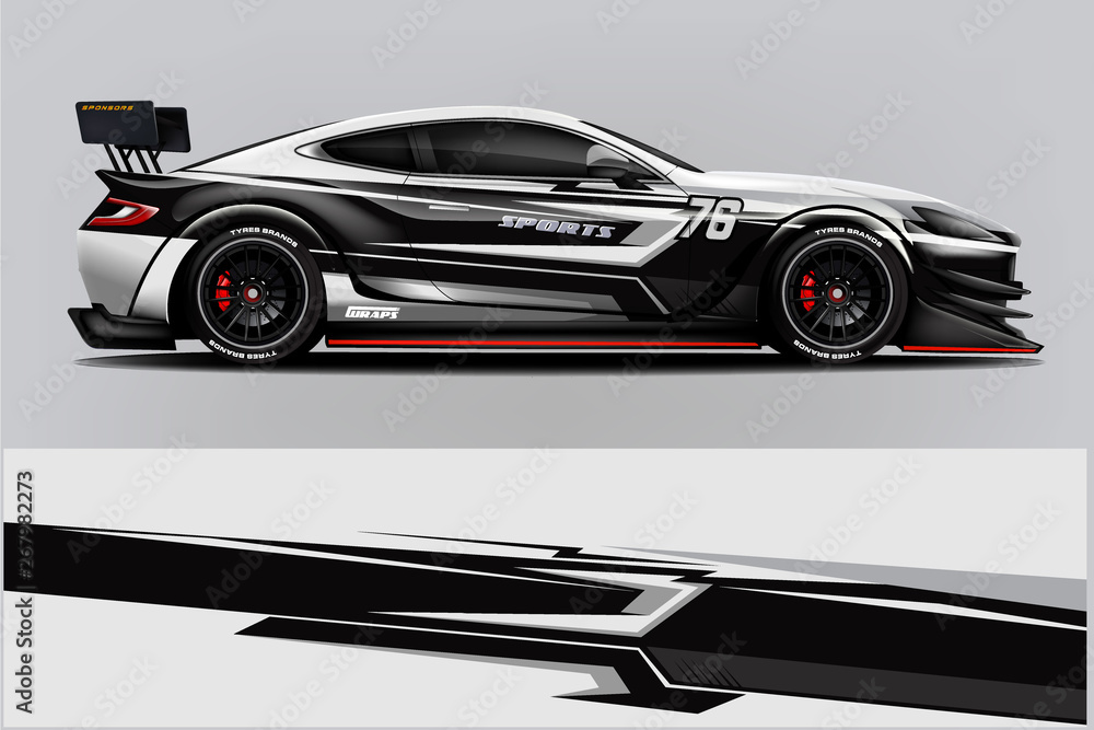 Fototapeta Sport Car wrap design vector, truck and cargo van decal. Graphic abstract stripe racing background designs for vehicle, rally, race, advertisement, adventure and livery car. - Vector