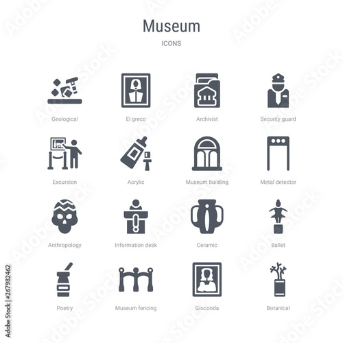 set of 16 vector icons such as botanical, gioconda, museum fencing, poetry, ballet, ceramic, information desk, anthropology from museum concept Wallpaper Mural