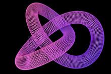 Wireframe Torus Knot On Dark B...