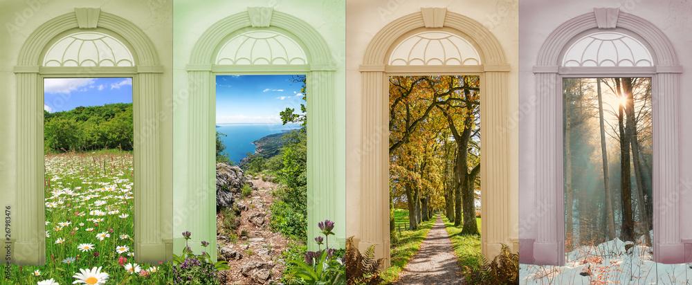Fototapeta Vier Jahreszeiten bunte Torbogen mit Blick auf verschiedene Landschaften IV