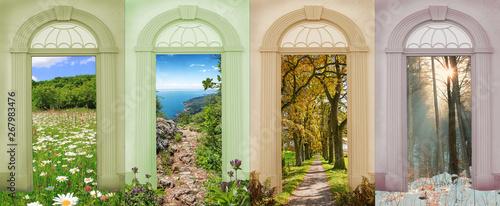 Fényképezés  Vier Jahreszeiten bunte Torbogen mit Blick auf verschiedene Landschaften IV