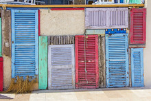 Colorful Old Wooden Doors In Formentera Near Ibiza