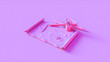 canvas print picture - Pink Roll of Paper with Scissors Pens 3d illustration 3d render