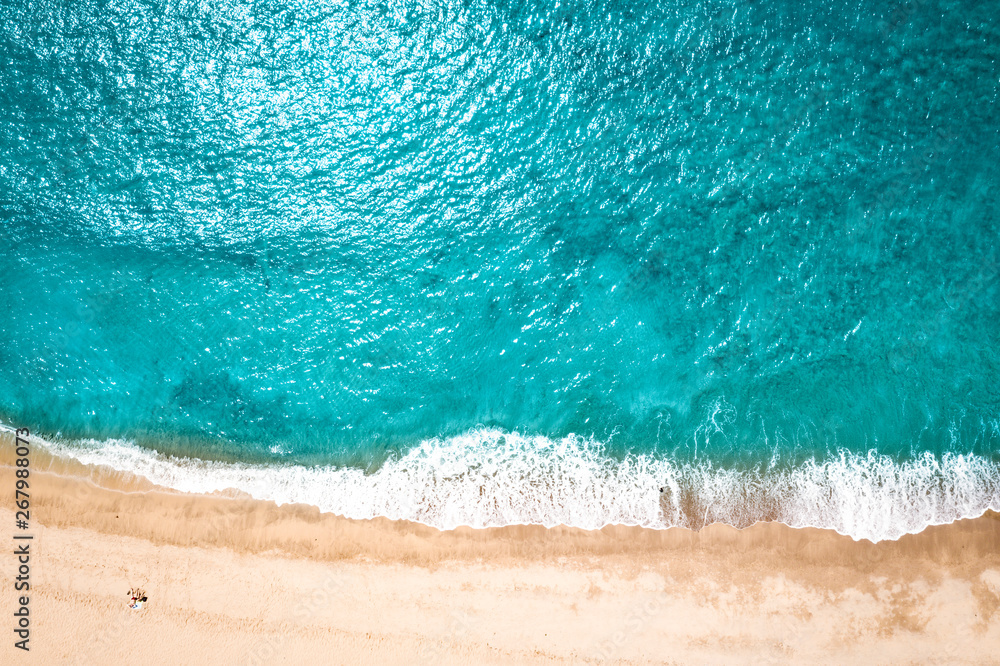 Fototapety, obrazy: Aerial view of summer beach and ocean landscape . Free space for your decoration.