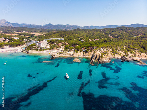 Aerial view, view of Peguera with hotels and beaches, Costa