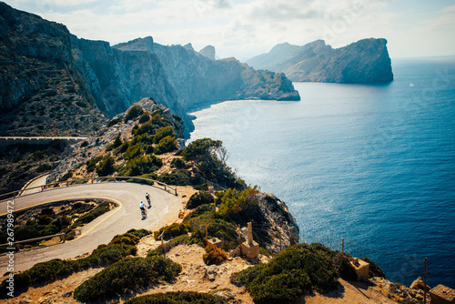 Acrylic Prints Gray traffic Cap de Formentor. Famous Cycling road at Mallorca, Majorca, Spain.
