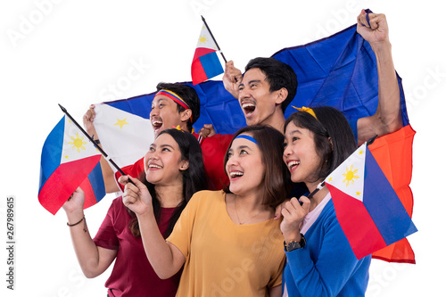 filipino group of people holding philippines flag celebrating independence day Wallpaper Mural