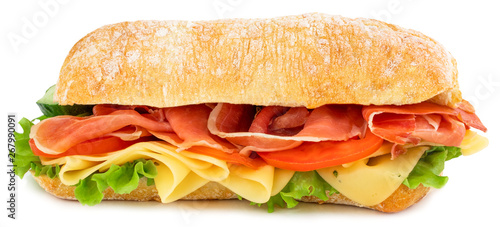 Photo Stands Snack Ciabatta sandwich with lettuce, tomatoes prosciutto and cheese isolated on white background
