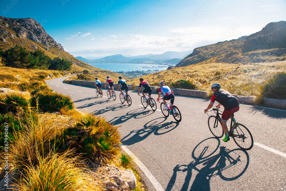 Fototapety, obrazy: Team sport cyclist photo. Group of triathlete on bicycle ride on the road at Mallorca, Majorca, Spain.