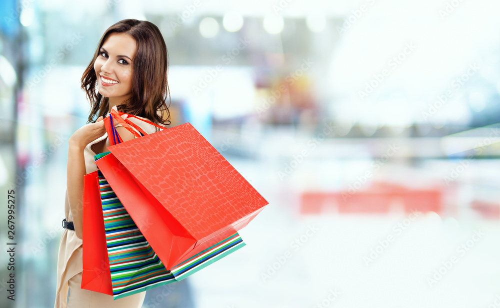 Fototapety, obrazy: Picture of happy girl with shopping bags, at mall