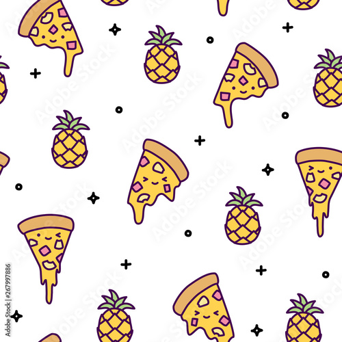 Hawaii pineapple pizza seamless pattern cute kawaii #267997886