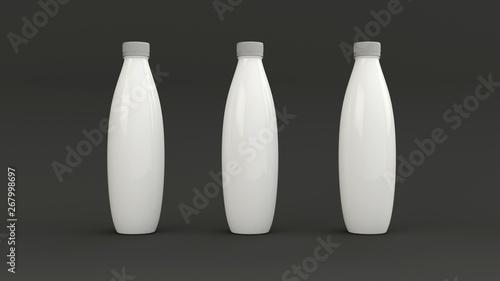 Fotografie, Obraz  White plastic bottles to add label. Dark background.