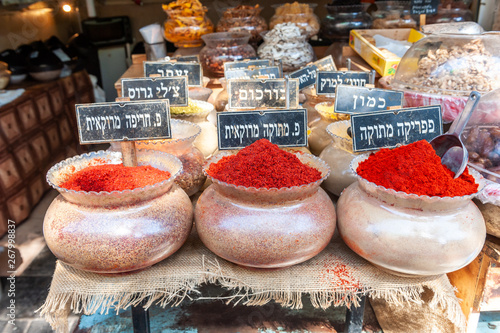 Herbs and spices sold in Shuk Hacarmel market, Tel Aviv, Israel Canvas Print