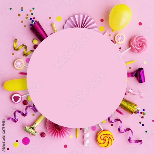 Obraz Pink birthday flat lay background - fototapety do salonu