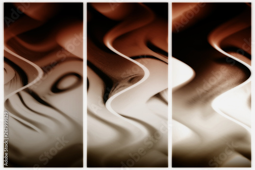 Fotomural Modern triptych design. Wavy lines flowing chocolate.
