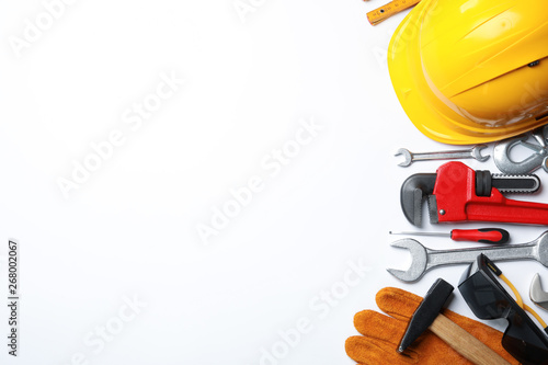 Obraz Composition with different construction tools on white background, top view - fototapety do salonu