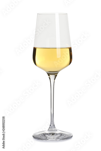 Foto op Canvas Alcohol Glass of delicious expensive wine on white background