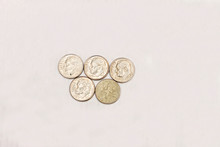 One Dime Coins Of USA Isolated On The White Background