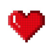 Pixel Heart Icon. Simple Flat Vector Illustration