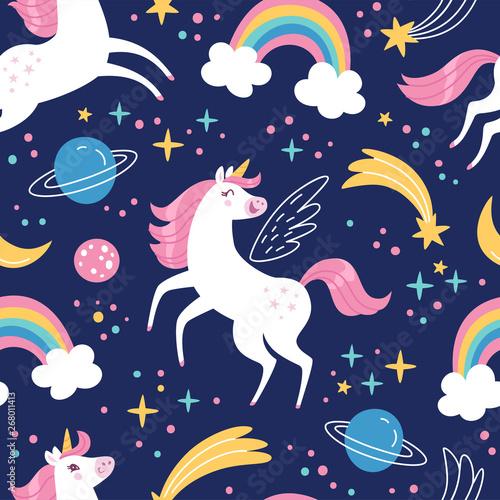unicorn-pattern-vector-seamless-pattern-with-white-unicorns-rainbow-and-stars-isolated-on-dark-blue-background